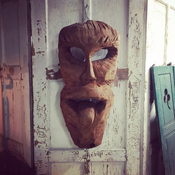 Solid 3' Wood Tribal Face