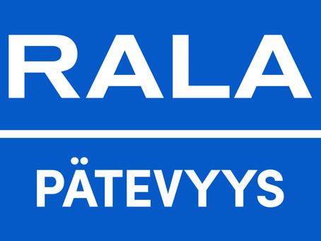 M.R. Partnersille myönnetty RALA-pätevyyksiä