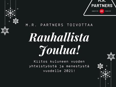 Lämmin kiitos kuluneen vuoden yhteistyöstä ja rauhallista joulunaikaa!