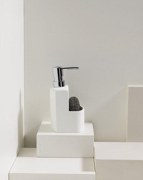 Weißer Küchenspender mit Metalltopfreiniger