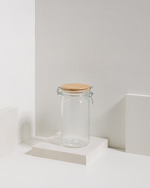Clipverschlussglas mit Holzdeckel 1000 ml