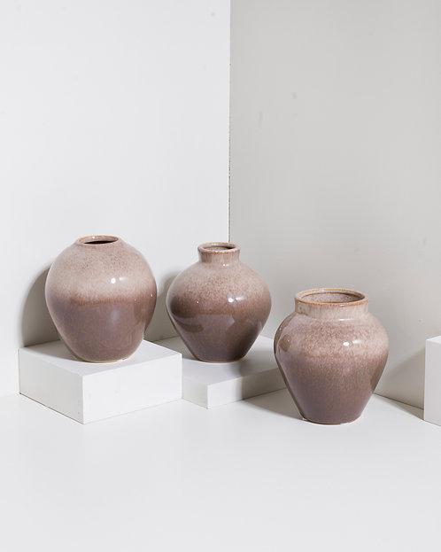 Vase 'Ingrid' - 3er Set - Taupe