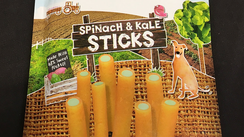 Benevo Pawtato Sticks - Spinach & Kale.  120g