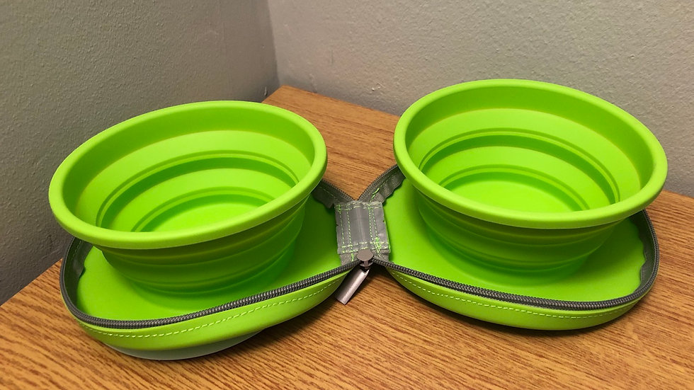 Foldable Zip-Up Dual Bowls