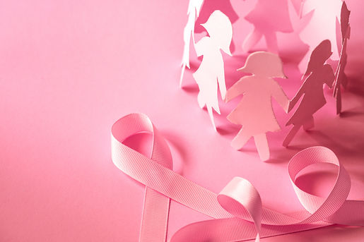 Sweet pink ribbon shape with girl paper
