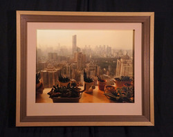 Earthy toned view of Hong Kong with multi layered frame and mat