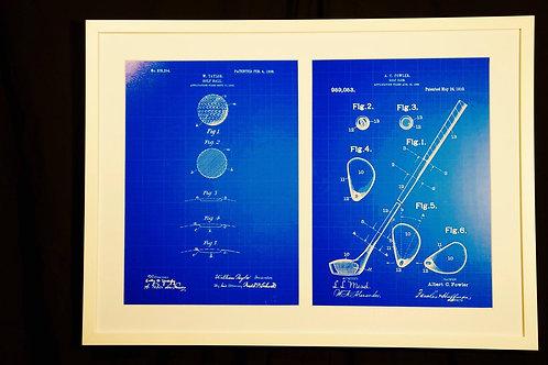 Golf equipment patents, custom framing. 74 x 54cm