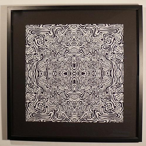 Framed B&W vector artwork. 67cm x 67cm