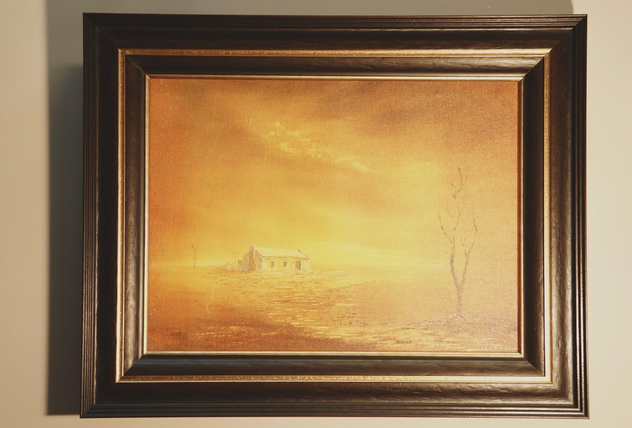 Formal framing of landscape oil painting