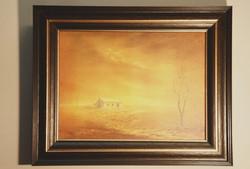 Formal framing of landscape oil painting