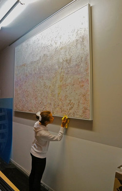 Very large stretched canvas with float frame