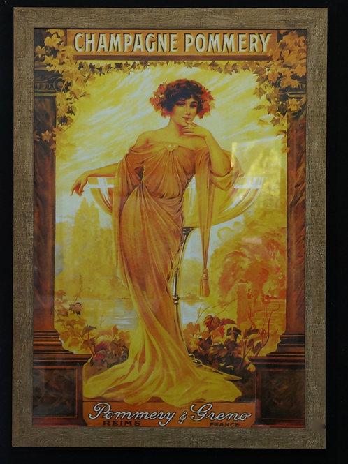 Framed vintage Pommery advertising print.  93 x 129cm