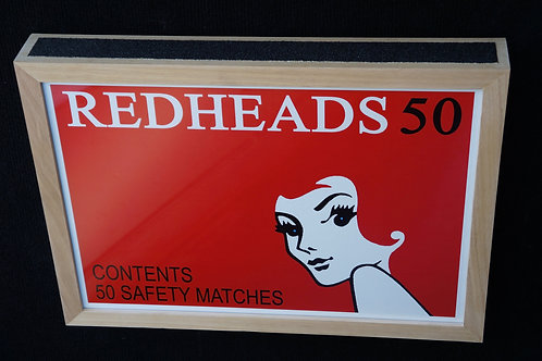 "Redheads matches print with custom ""matchbox"" frame. 45 x 32cm"