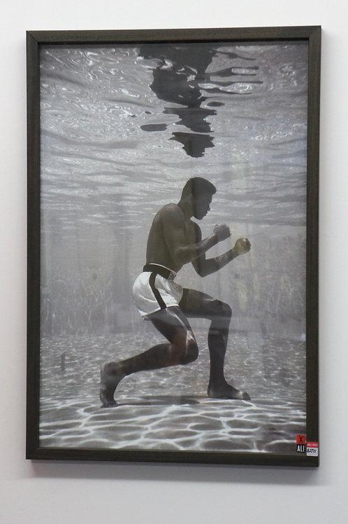 Muhammad Ali training in a pool. Framed. 64 x 94cm