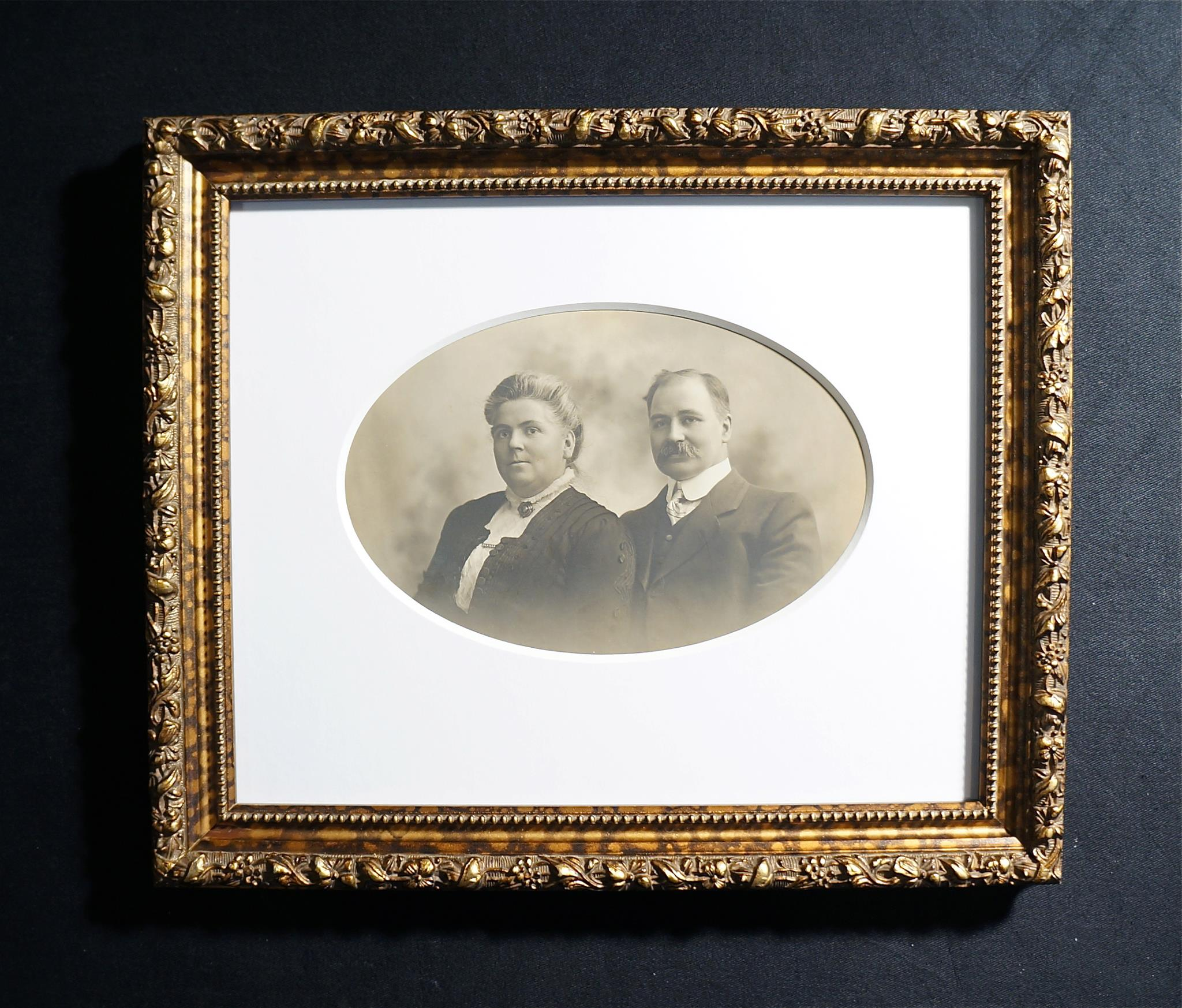 Formal framing of original B&W portrait
