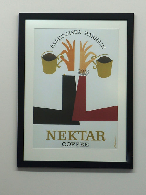 Print of vintage advertising poster. Framed. 56 x 73cm