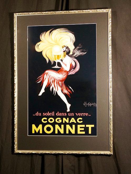 Framed vintage advertising print, with ornate, silver frame. 75 x 40cm