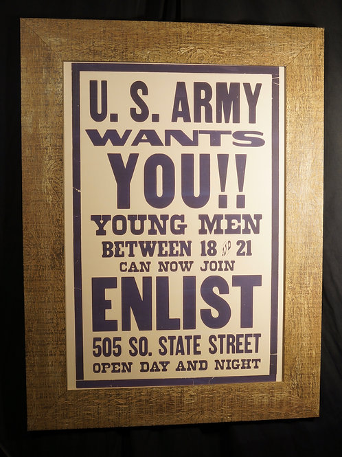 Framed U.S army recruitment poster print 75 x 100cm
