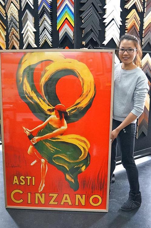 Framed print of vintage poster 150 x 100cm