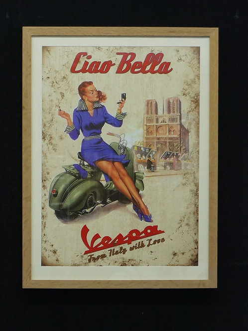 Framed vintage Vespa advertising poster print. (61 x 82cm)