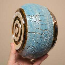 Blue Brown Crackle Vase