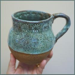 Liquid Blue on Chocolate Mug