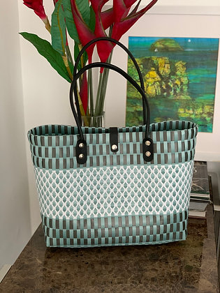 Medium Sized Woven Tote Bag with Leather Handle