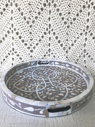 Round Mother of Pearl Inlay Tray