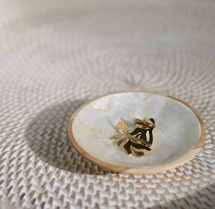 Mother of Pearl and Wood Round Trinket Tray