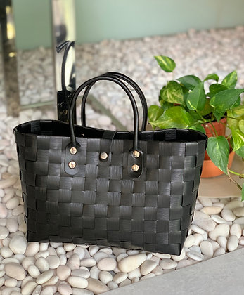 Large Woven Bucket Bag with Leather Handle