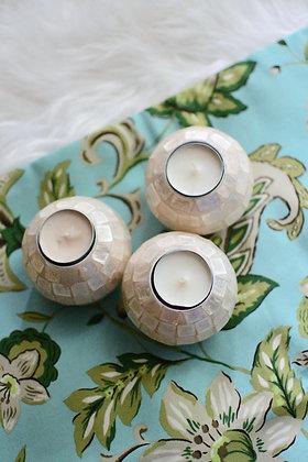 Round Capiz Votive Candle Holders (Set of 3)