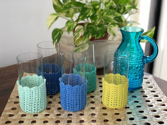 Crochet Glass Huggers (Beach Picnic Series)