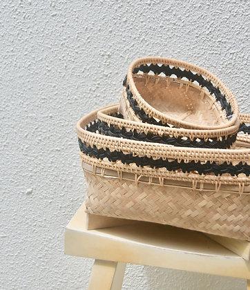 Rattan Black and Natural Utility Basket (Set of 3)