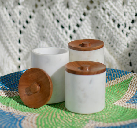 Marble Multipurpose Cannister with Wood Cover (Set of 3)