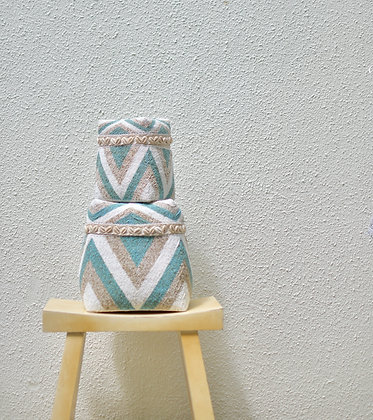 Turquoise Tricolor Basket Box with Shells (sizes available)