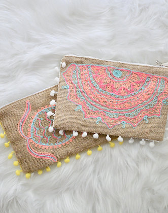 Jute Pompom Purse with Lining