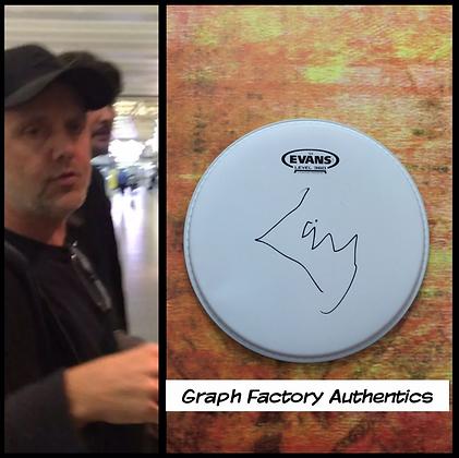 "GFA Metallica Drummer * LARS ULRICH * Signed 10"" Drumhead PROOF COA"