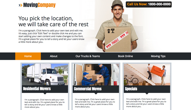 Services & Maintenance website templates – Moving Company