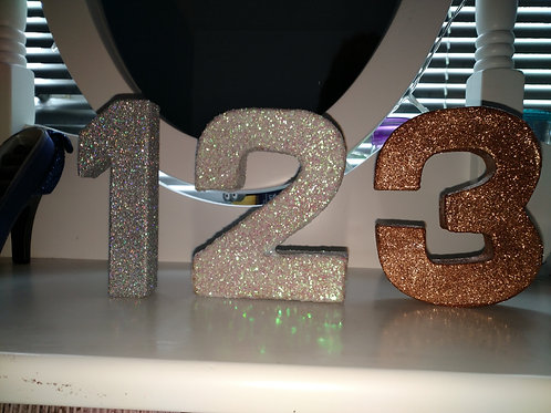 Decorative Glitter Table Numbers