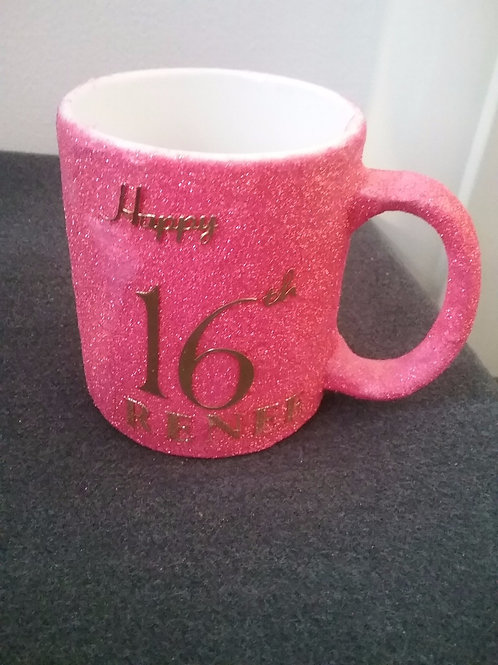 Happy birthday glitter mugs