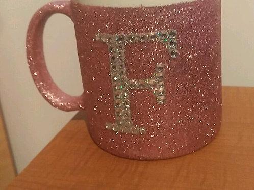 Diamante initial mug