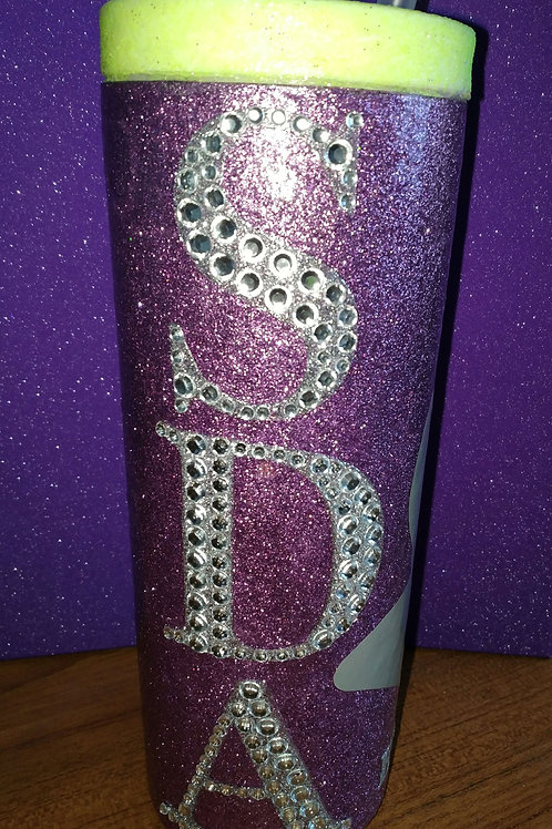 Personalised long glitter tumbler