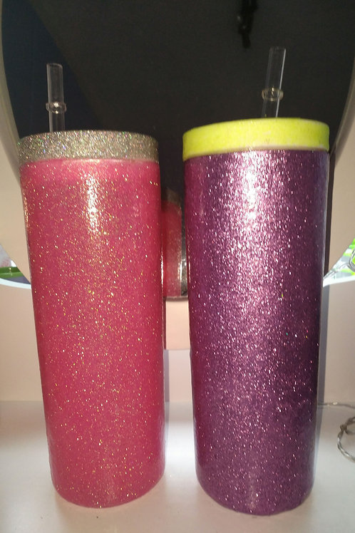 Long glitter tumbler with straw