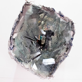 """Untitled Cube II (silver) Acrylic paint, fabric, glass, wire and silver leaf 15"""" x 13"""" x 17"""""""