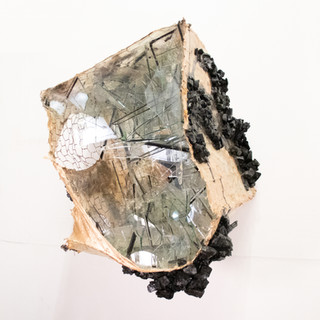 """Untitled Cube I (gold) Acrylic paint, fabric, glass, wire and gold leaf 15"""" x 16"""" x 22"""""""