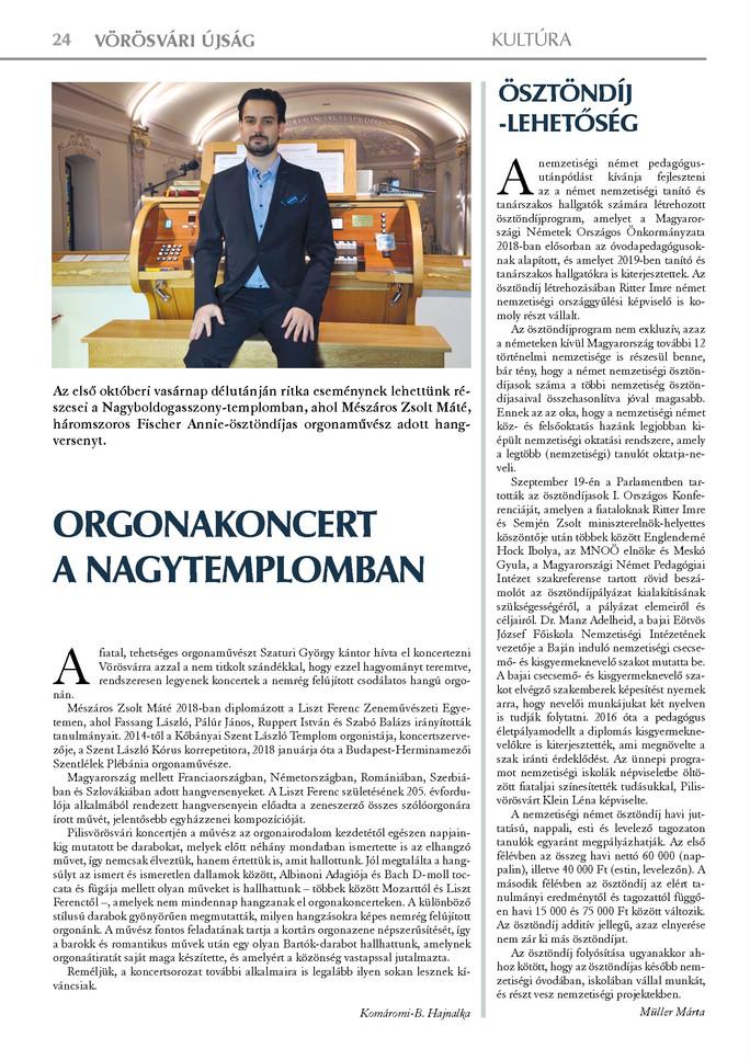 Orgonakoncert a nagytemplomban