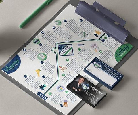 Info graphic design and business card de