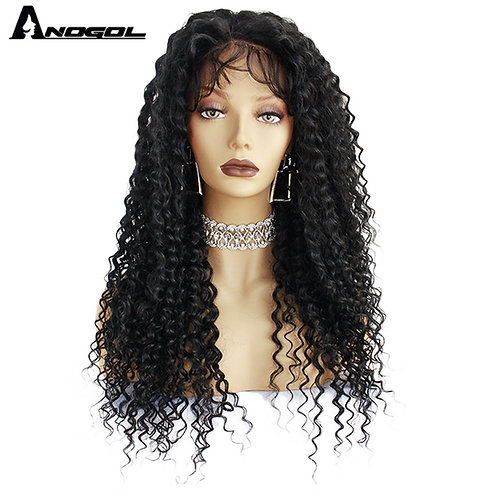 Anogol Long Curly Black  Futura Lace Front Wigs With Baby Hair