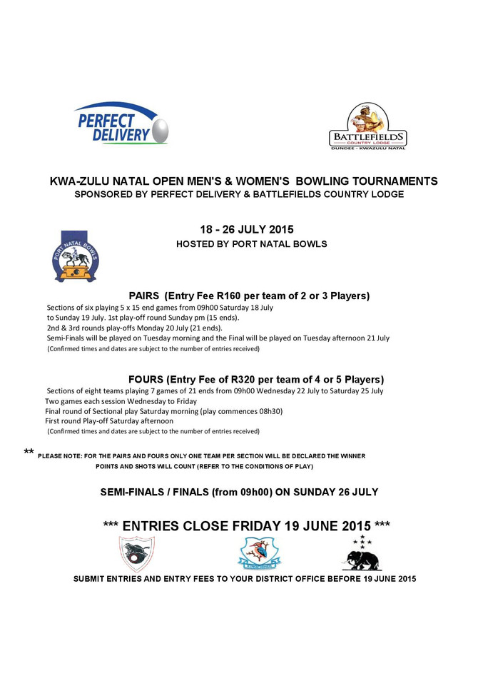 KZN FOURS AND PAIRS TOURNAMENTS