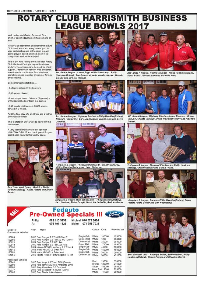 Rotary club Harrismith business league bowls 2017